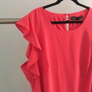 Leslie Fay NWT 20W pink ruffle dress